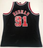 "DENNIS RODMAN Autographed ""Last Dance"" Chicago Bulls Black Jersey FANATICS"