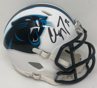 CHRISTIAN McCAFFREY Autographed White Matte Carolina Panthers Mini Helmet FANATICS