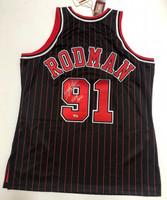 "DENNIS RODMAN Autographed ""HOF 2011"" Chicago Bulls Authentic Pinstripe Jersey FANATICS"