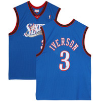 ALLEN IVERSON Autographed Philadelphia 76ers Blue Swingman 1999-00 Jersey FANATICS