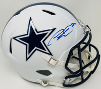 CEEDEE LAMB Autographed Dallas Cowboys White Matte Full Size Speed Helmet FANATICS