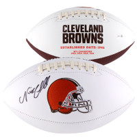 NICK CHUBB Autographed Cleveland Cleveland Browns White Panel Football FANATICS