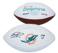 """TUA TAGOVAILOA Autographed """"Fins Up"""" Miami Dolphins White Panel Football FANATICS"""