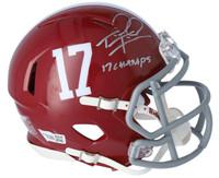 """TUA TAGOVAILOA Autographed Alabama Crimson Tide """"17 Champs"""" Speed Mini Helmet FANATICS"""