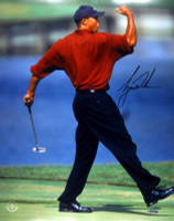 TIGER WOODS Autographed 'Fist-Pump' Photo UDA