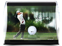 RORY McIlroy Hand Signed Holding the Finish Photo with Range Driven Ball in Curve Display UDA LE 50