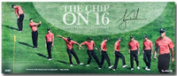 "TIGER WOODS Hand Signed ""Chip at 16"" 36 x 15 Photograph UDA LE 116"