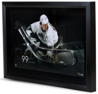 WAYNE GRETZKY Signed Kings Stick Blade Break Through Photo UDA