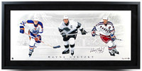WAYNE GRETZKY Signed / Framed Triple Threat Photo UDA