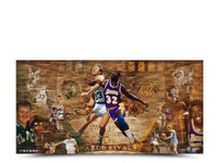 MAGIC JOHNSON & LARRY BIRD AUTOGRAPHED ARCH RIVALS 36 X 18 PHOTO.