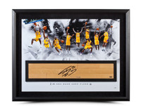"SHAQUILLE O'NEAL AUTOGRAPHED NBA GAME USED FLOOR ""BIG ARISTOTLE"" COLLAGE 36 X 24"