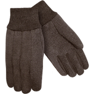 9 oz Brown Jersey Plastic Dotted Work Glove Large