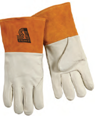 "Tan Grain Cowhide Unlined MIG Glove 4"" Cuff"