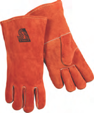 Brown Welder Gloves Wool Lined, One Piece Back and Full Welting