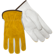 Tan Grain Cow Palm GLD Split Cow Back Unlined Drivers Glove