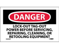 DANGER LOCK-OUT TAG-OUT POWER BEFORE USE LABEL PK/5