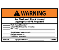 WARNING ARC FLASH AND SHOCK HAZARD LABEL, PK/5