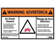 BILINGUAL WARNING ARC FLASH AND SHOCK HAZARD LABEL, PK/5