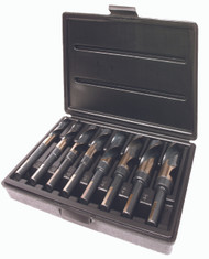 "8 Piece Drill Set, Fractional, 1/2"" Reduced Shank, 3 Flats, S&D, HSS, Black Oxide Flutes"