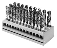 "33 Piece Drill Set, Fractional, 1/2"" Reduced Shank, S&D, HSS, Black Oxide Flutes"
