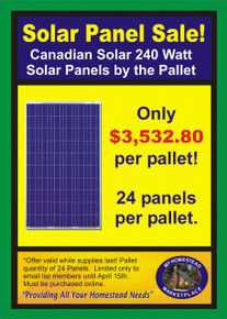 Canadian 240 Watt Solar Panel Spring Sale by the Pallet