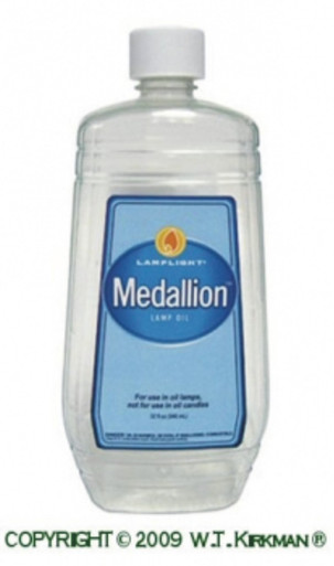 "Medallion Lamp Oil by Lamplight Farms burns very clean without creating an odor, perfect for indoor use. Burns 25 hours with a 7/8"" wick."