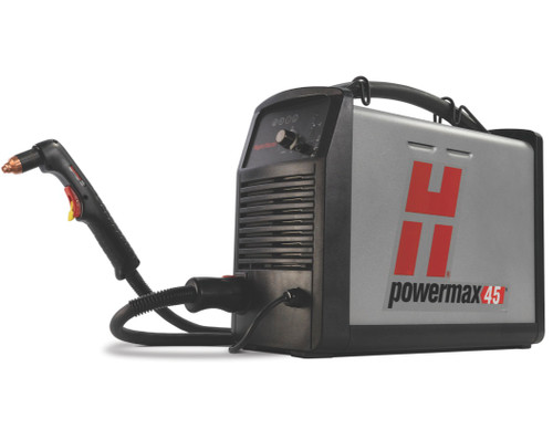 "Our best selling system, the Powermax45 is the most versatile and portable 1/2"" (12 mm) machine on the market, with a broad set of application capabilities that make it a truly multi-purpose tool. The Powermax45 cuts or gouges faster, easier and better than any other product in its class."