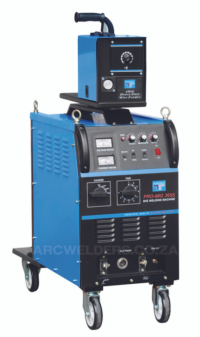 The Tradeweld MIG 365S is manufactured to the highest standards using Step controlled Transformer Technology. Features external 4 wheel wire feed system, with stepless wire feed system. Ideal for  fabrication work .