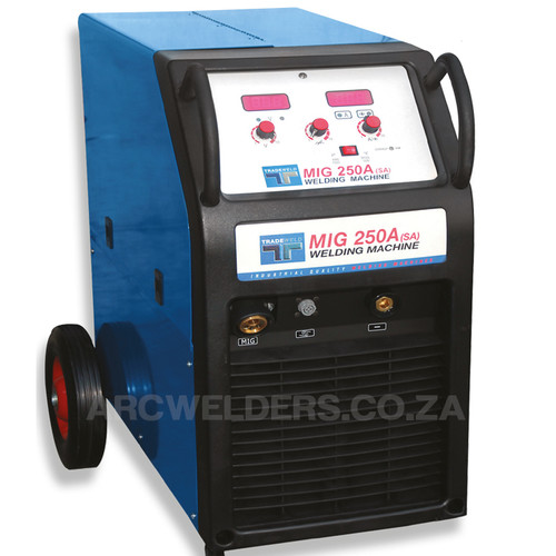 The Tradeweld MIG 250A is manufactured to the highest standards using cutting edge MOSFET Technology. Features  2 wheel wire feed system, with stepless voltage control from 30-250amps. Ideal for  fabrication work and can be used to weld aluminium with optional spool gun.