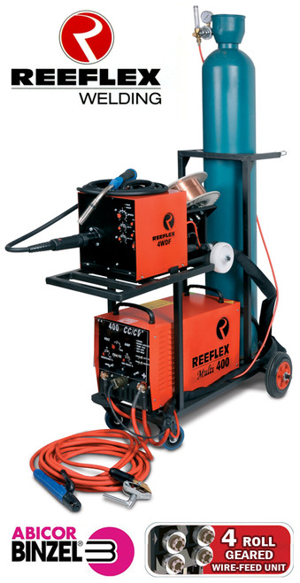 The Reeflex 400 amp multi-process welder is manufactured in South Africa, comes with a two year warranty. It is the mines industry standard welding machine and boasts a 100% DUTY CYCLE at 400 amps! This machine can be used for both maintenance and production applications. Adjustable ARC FORCE for CC, and adjustable INDUCTANCE for CV enables each process to be fined tuned to obtain optimum results. built with Siemens IGBT's and European parts.