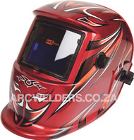 Matweld Auto Darkening Welding Helmet - Red Tribal SPECIAL