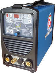 The R-Tech TIG200PD 200Amp DC TIG welder with digital panel and memory store, HF starting, fully featured pulse welding, slope up/down, 2/4 way control, LED display, high 60% duty cycle and remote foot pedal options suitable for welding all steels.