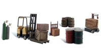 Woodland Scenics A2208 N LOADING DOCK DETAILS Fork Lift Drums Train Scenery bcg
