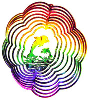 WIND TWISTER DECORATION Rainbow Colors FLOWER DOLPHIN Garden Decor bcg