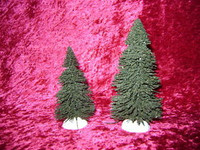"PINE TREES 2 Evergreen 4"" 5"" Lemax Village S HO N Train Scenery z"