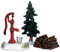 Lemax 34953 WATER PUMP TREE FIREWOOD Christmas Village G Scale bcg