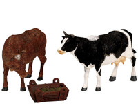 Lemax 12512 FEEDING COW & BULL Figurine Set of 3 Christmas Village Figures O G bcg