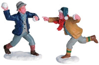 Lemax 62308 SNOWBALL FUN Figurine Set of 2 Christmas Village Accessories O G bcg