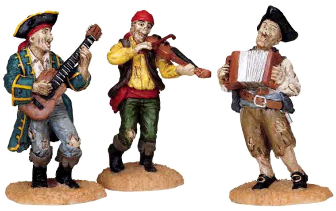 Lemax 82499 PIRATE SHANTY TUNE Set of 3 Spooky Town Figure Halloween O  Retired bcg