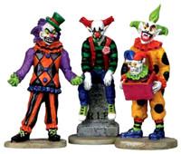 Lemax 12885 EVIL SINISTER CLOWNS Figurine Set of 3 Spooky Town Halloween Decor G Scale Figure bcg