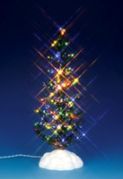 Lemax 54950 LIGHTED PINE TREE MULTI COLOR LARGE Christmas Village Accessory S Scale bcg