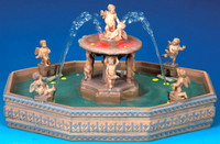 Lemax 14663 LIGHTED VILLAGE SQUARE FOUNTAIN Christmas Village Landscape Accessory S O G Scale bcg