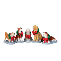 Lemax 32138 CHRISTMAS POOCH Christmas Village Figurine Set of 5 G Scale Figure bcg