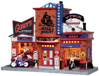 Lemax 25383 GORDY'S CYCLE SHOP Christmas Village Building Retired Motorcycle S O Scale bcg