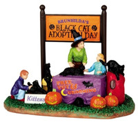 Lemax 43067 BLACK CAT ADOPTION Spooky Town Table Accent Halloween Decor bcg