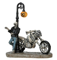 Lemax 72491 BAD TO THE BONE Spooky Town Figurine Halloween Decor Biker Figure bcg