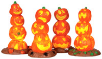 Lemax 34623 LIGHT UP PUMPKIN STACK (4) Spooky Town Accessory Halloween Decor bcg