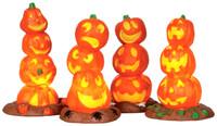 Lemax 34623 LIGHT UP PUMPKIN STACK (4) Spooky Town Accessory Halloween Decor bcg