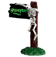 Lemax 44743 SPOOKYTOWN THIS WAY Sign Spooky Town Accessory Halloween Decor O G bcg