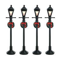 Lemax 64498 GAS LANTERN STREET LAMP Set of 4 Christmas Village Lights S Scale bcg